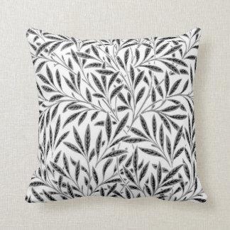 William Morris Willow Pattern, Gray / Grey & White Throw Pillow