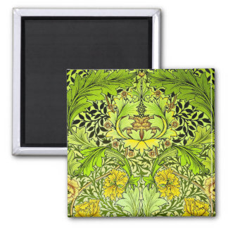 William Morris Yellow & Green Floral Wallpaper 2 Inch Square Magnet