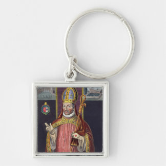 William of Wykeham (1325-1404) (colour litho) Silver-Colored Square Keychain