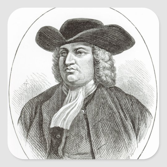 William Penn  engraved by Josiah Wood Whymper Square Sticker
