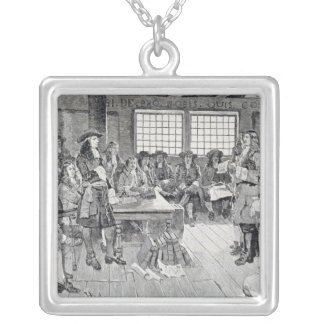 William Penn in Conference with the Colonists Silver Plated Necklace