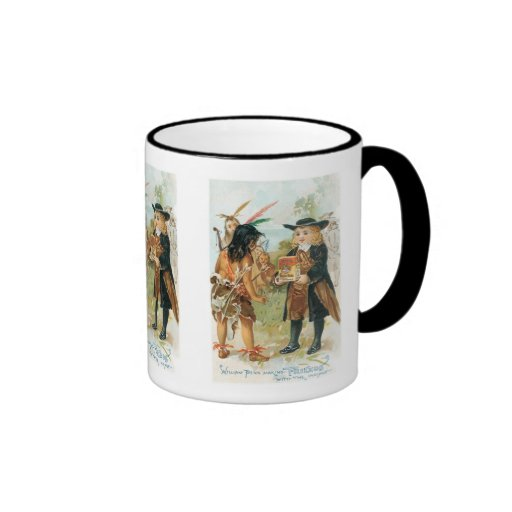William Penn Making Friends with The Indians Ringer Coffee Mug
