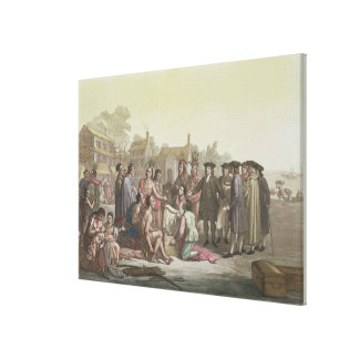 William Penn negotiating the treaty leading to the Canvas Print