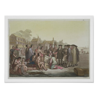 William Penn negotiating the treaty leading to the Poster