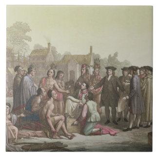 William Penn que negocia el tratado que lleva a Azulejo Cuadrado Grande