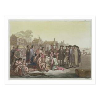 William Penn que negocia el tratado que lleva a Tarjeta Postal