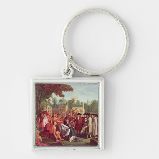 William Penn's Treaty with the Indians in 1683 Keychain