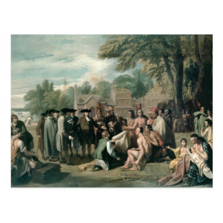 William Penn's Treaty with the Indians in Postcard