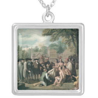 William Penn's Treaty with the Indians in Silver Plated Necklace