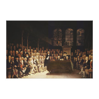 William Pitt addressing the House Canvas Print