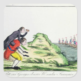 William Pitt Observing the French Squadron Square Sticker