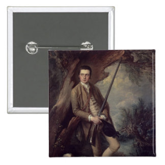 William Poyntz of Midgham and his Dog Amber 2 Inch Square Button