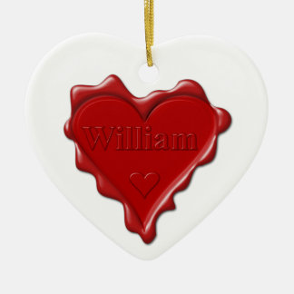 William. Red heart wax seal with name William Ceramic Ornament