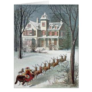 William Roger Snow  -  Vintage Santa and Sleigh Card