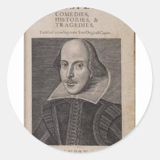 William Shakespeare 1623 Pegatina Redonda