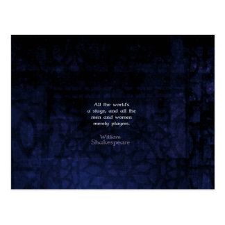 William Shakespeare All The World's A Stage Quote Postcard