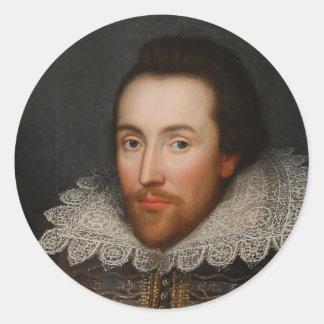 William Shakespeare Cobbe Portrait  circa 1610 Classic Round Sticker