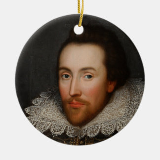 William Shakespeare Cobbe Portrait  circa 1610 Double-Sided Ceramic Round Christmas Ornament