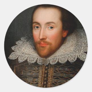 William Shakespeare Cobbe Portrait Classic Round Sticker
