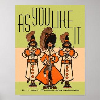 William Shakespeare como usted tiene gusto de él p Posters