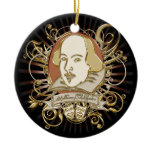 William Shakespeare Crest (Gold) Ceramic Ornament