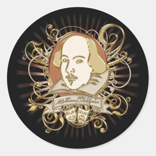 William Shakespeare Crest (Gold) Classic Round Sticker