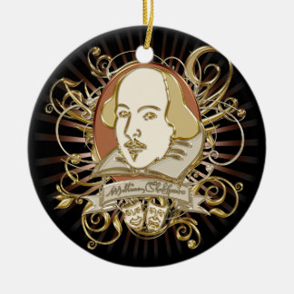 William Shakespeare Crest (Gold) Double-Sided Ceramic Round Christmas Ornament