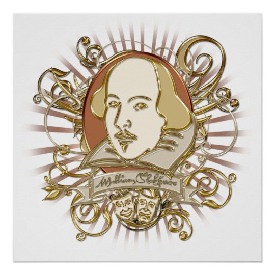 William Shakespeare Crest (Gold) Poster