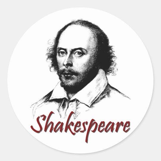 William Shakespeare Etching Classic Round Sticker