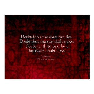 William Shakespeare Famous Love Quote Postcard