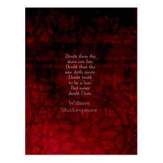 William Shakespeare Famous Love Quote Postcard