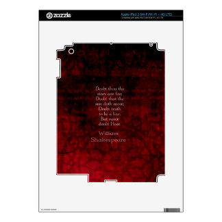 William Shakespeare Famous Love Quote Skin For iPad 3
