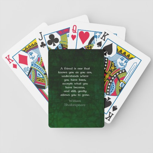 William Shakespeare Friendship Inspirational Quote Deck Of Cards