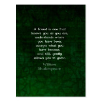 William Shakespeare Friendship Inspirational Quote Postcard