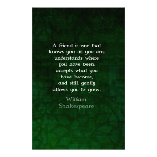 William Shakespeare Friendship Inspirational Quote Customized Stationery