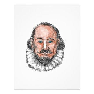 William Shakespeare Head Watercolor Letterhead