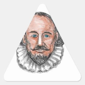 William Shakespeare Head Watercolor Triangle Sticker