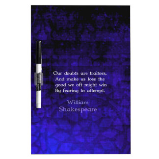 William Shakespeare Inspirational Courage Quote Dry Erase Board