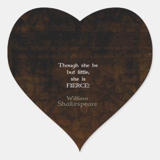 William Shakespeare Little And Fierce Quotation Heart Sticker