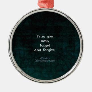 William Shakespeare olvida y perdona cita Adorno Navideño Redondo De Metal