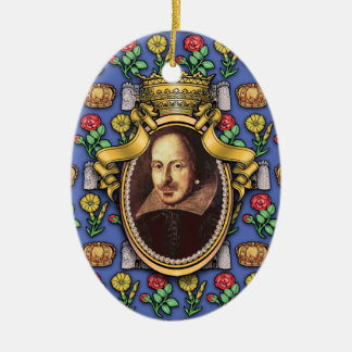 William Shakespeare Double-Sided Oval Ceramic Christmas Ornament