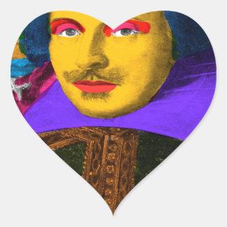 William Shakespeare Pop Art Heart Sticker
