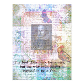 William Shakespeare quote about wisdom and fools Personalized Letterhead