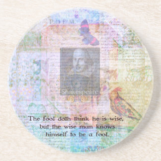 William Shakespeare quote about wisdom and fools Sandstone Coaster