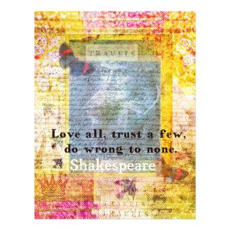 William Shakespeare quote LOVE ALL Personalized Letterhead