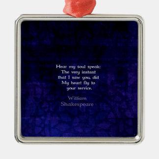 William Shakespeare Romantic Love Quote Ornament
