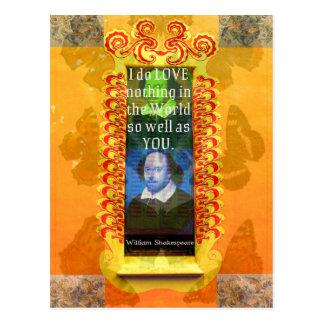 William Shakespeare Romantic LOVE Quote Postcard