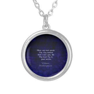 William Shakespeare Romantic Love Quote Round Pendant Necklace