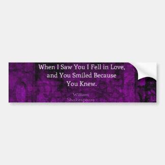 William Shakespeare Romantic Love Saying Bumper Sticker