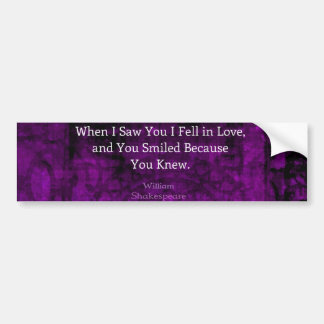William Shakespeare Romantic Love Saying Car Bumper Sticker